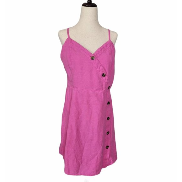 [American Eagle] Pink Fit & Flare Button Dress M